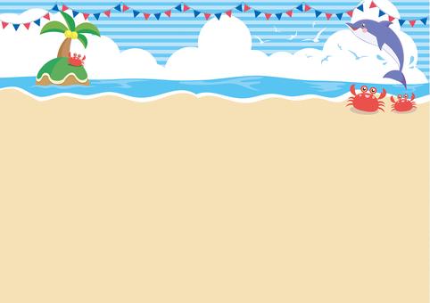 ヤシの木とイルカの海フレーム