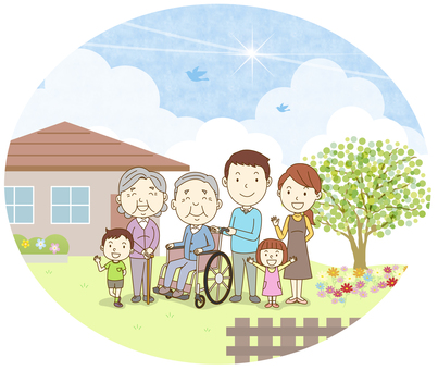Wheelchair grandpa / 6 people family / with background
