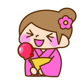 A girl in a yukata figure
