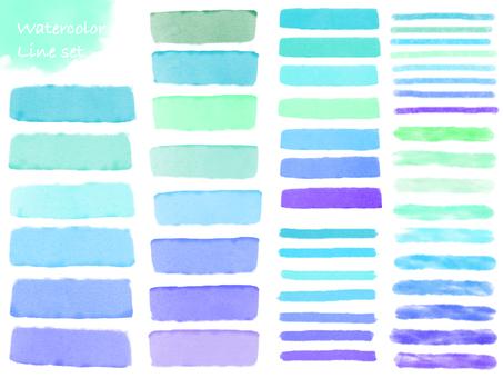 Water color line set blue