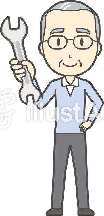 高齢ブルー男性-077-全身のイラスト