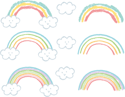 Crayon's rainbow and clouds