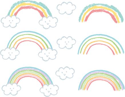 蜡笔的彩虹和云彩