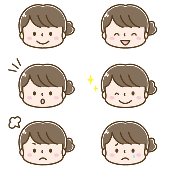 Cute woman's face expression set