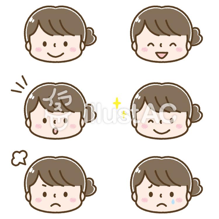 かわいい女性の顔 表情セットイラスト No 無料イラストなら イラストac