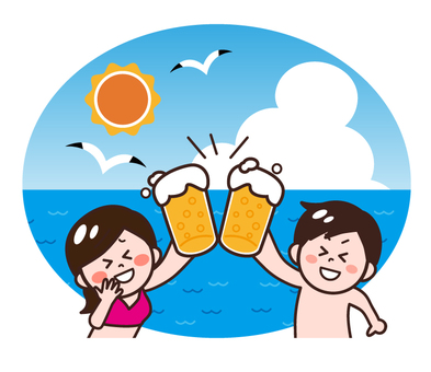 Drinking men and women drinking with beer on the beach of the sea