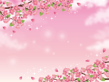 Sparkling sky and sparkling scenery with branches of cherry blossoms 02