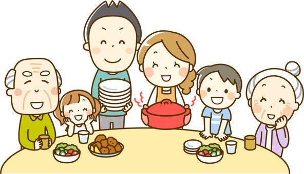 家族みんなで食事_三世代