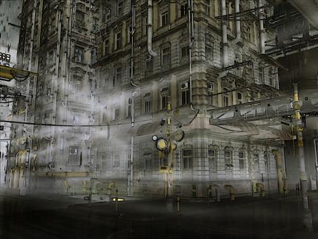 비와 안개 빌딩