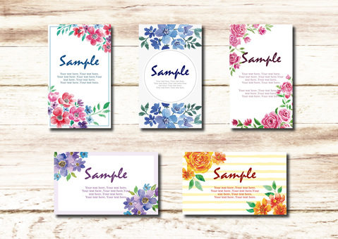 Water color flower card set