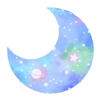 Moon icon space pattern watercolor 002