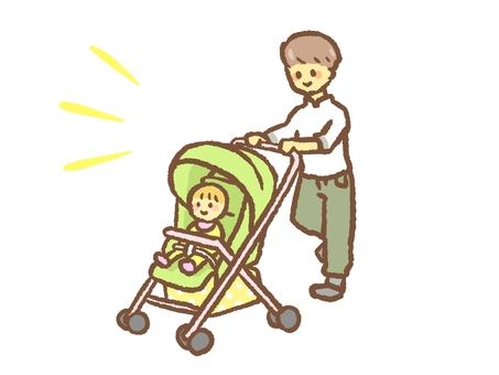 Father pushing a stroller
