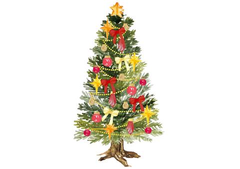 《水彩風》クリスマスツリー_豪華