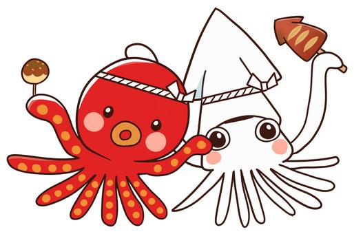 【Festival】 Takoyaki & squid baked set