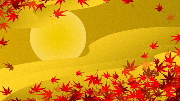 Gilt-style moon and autumn leaves 16: 9