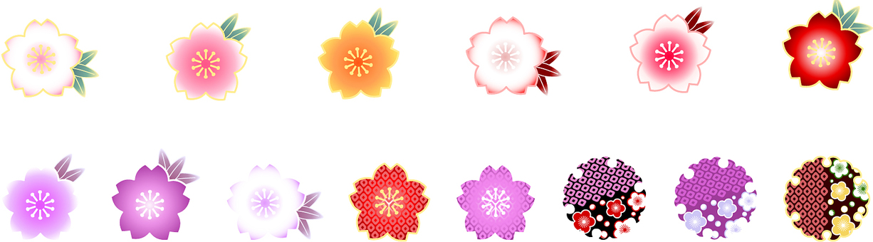 사쿠라 꽃과 雪輪 ai14 종 세트