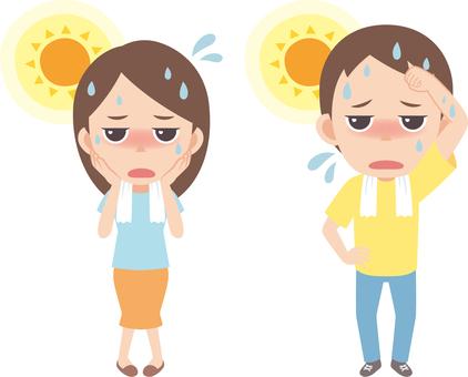Heatstroke _ man and woman