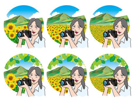 向日葵摘要(25)山脈和相機女孩