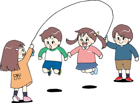 큰 줄넘기를하는 아이들