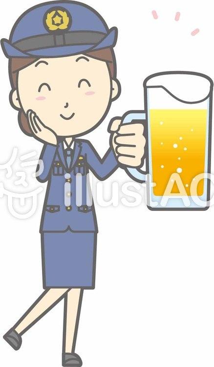 警察官女性a-ビール笑顔-全身のイラスト