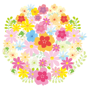 Colorful flower circle