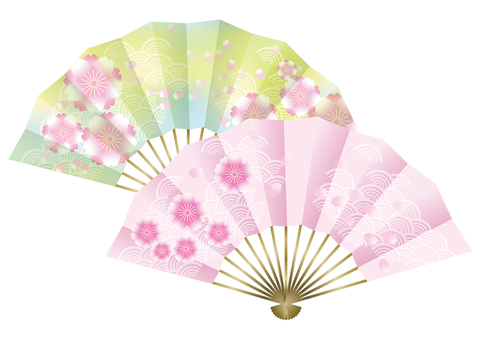 Peach blossoms & fans 6