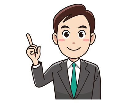 A businessman pointing to a finger