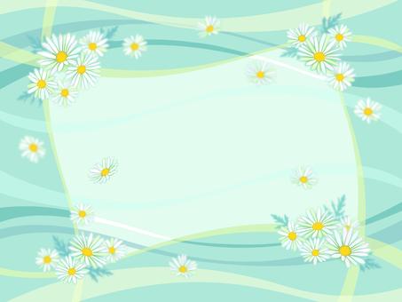 흰 꽃의 프레임 (배경 민트 그린)