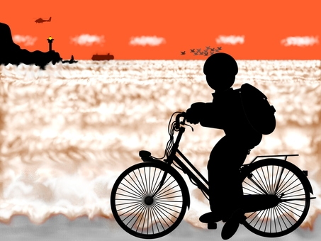 """Cycling"" overlooking the sea at dusk"
