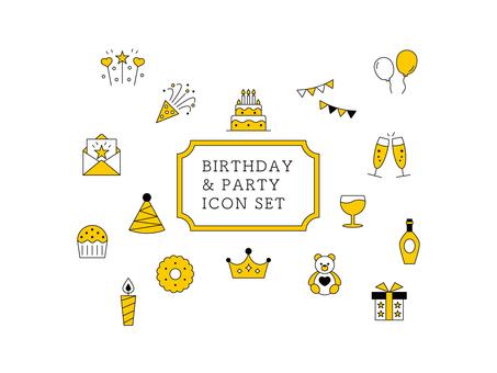 Icon Set Birthday / Celebration Yellow