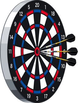 Darts target and arrows