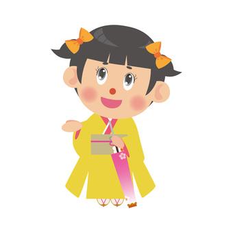 A woman wearing a kimono (umbrella / twin tail)