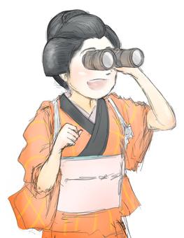 調查雙筒望遠鏡的橙色和服婦女