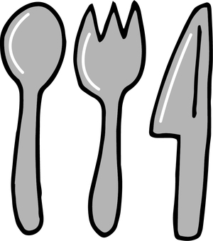 Knife with fork and spoon