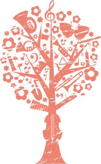 음악 나무 스탬프 바람