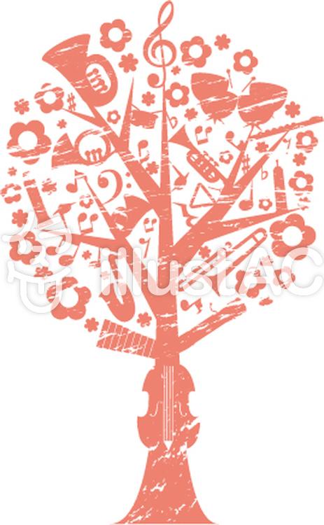 音楽の樹スタンプ風イラスト No 131561無料イラストならイラストac
