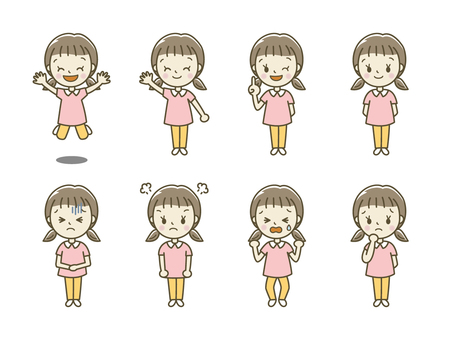 Girls with various expressions