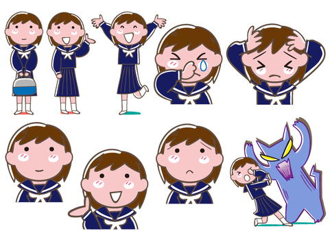 Female student with various expressive sailor suit
