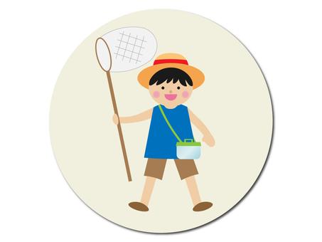 벌레 잡기를하는 소년의 그림