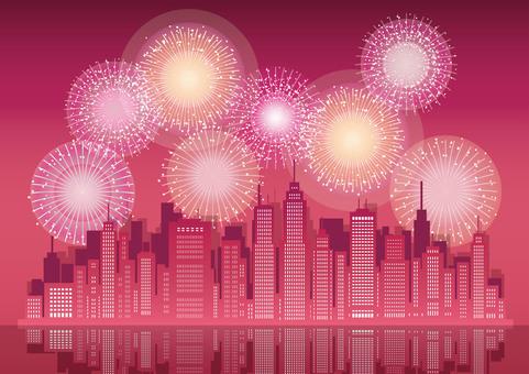 大都市と花火の背景イラスト