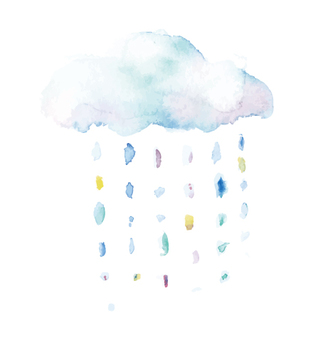 Water color illustration rain cloud