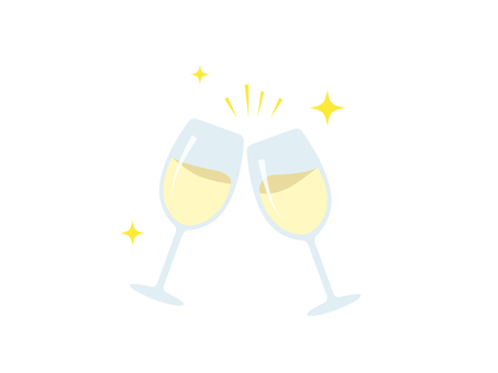 Cheers with wine glass _ white
