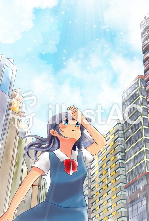 空を見上げる女の子ビル街イラスト No 1171791無料イラストなら