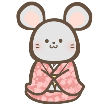 A mouse sitting upright in a kimono