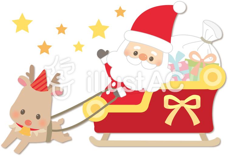 クリスマス_サンタとトナカイのイラスト