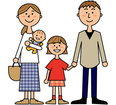 젊은 가족 _ 부부과 소녀와 아기