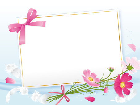 Ribbon card with cosmos 02