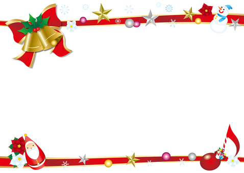 Ribbon and bell's Christmas frame background white