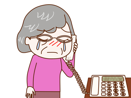 Granny crying on the phone