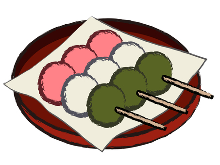 Japanese style Japanese confectionary shop Odoke three color dumpling